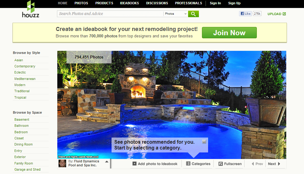 Screen Shot of Houzz Website